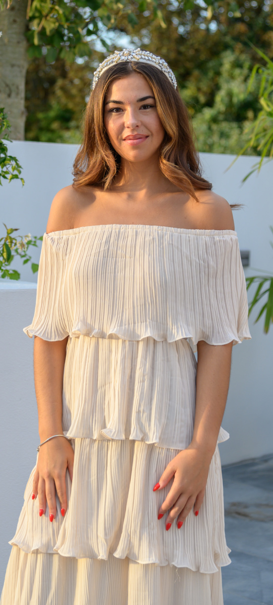 Cream Tiered Off The Shoulder 01