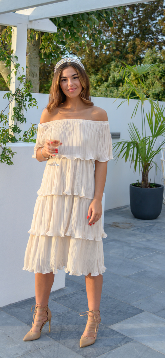 Cream Tiered Off The Shoulder 02