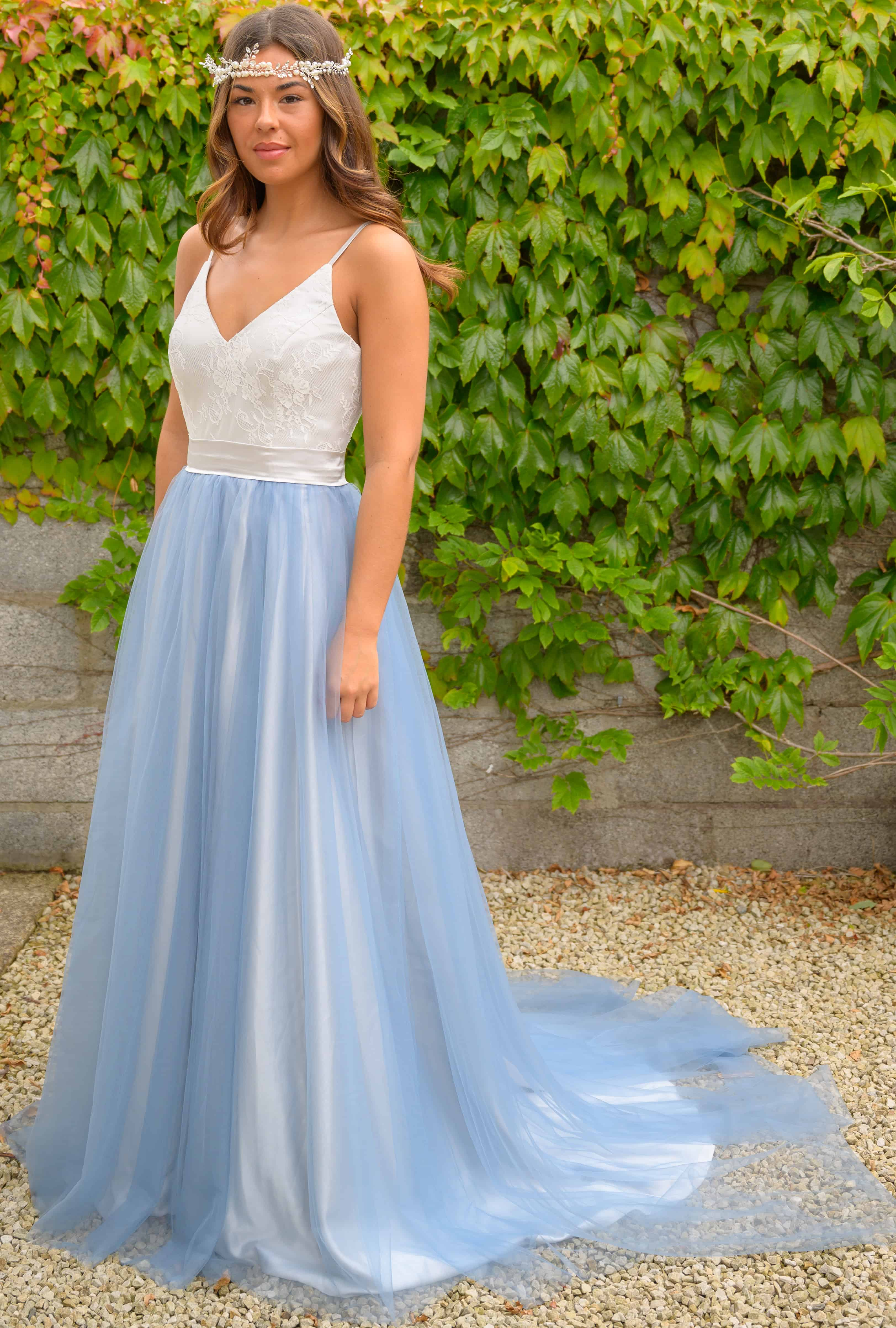 Full Length Blue & White Lace Gown